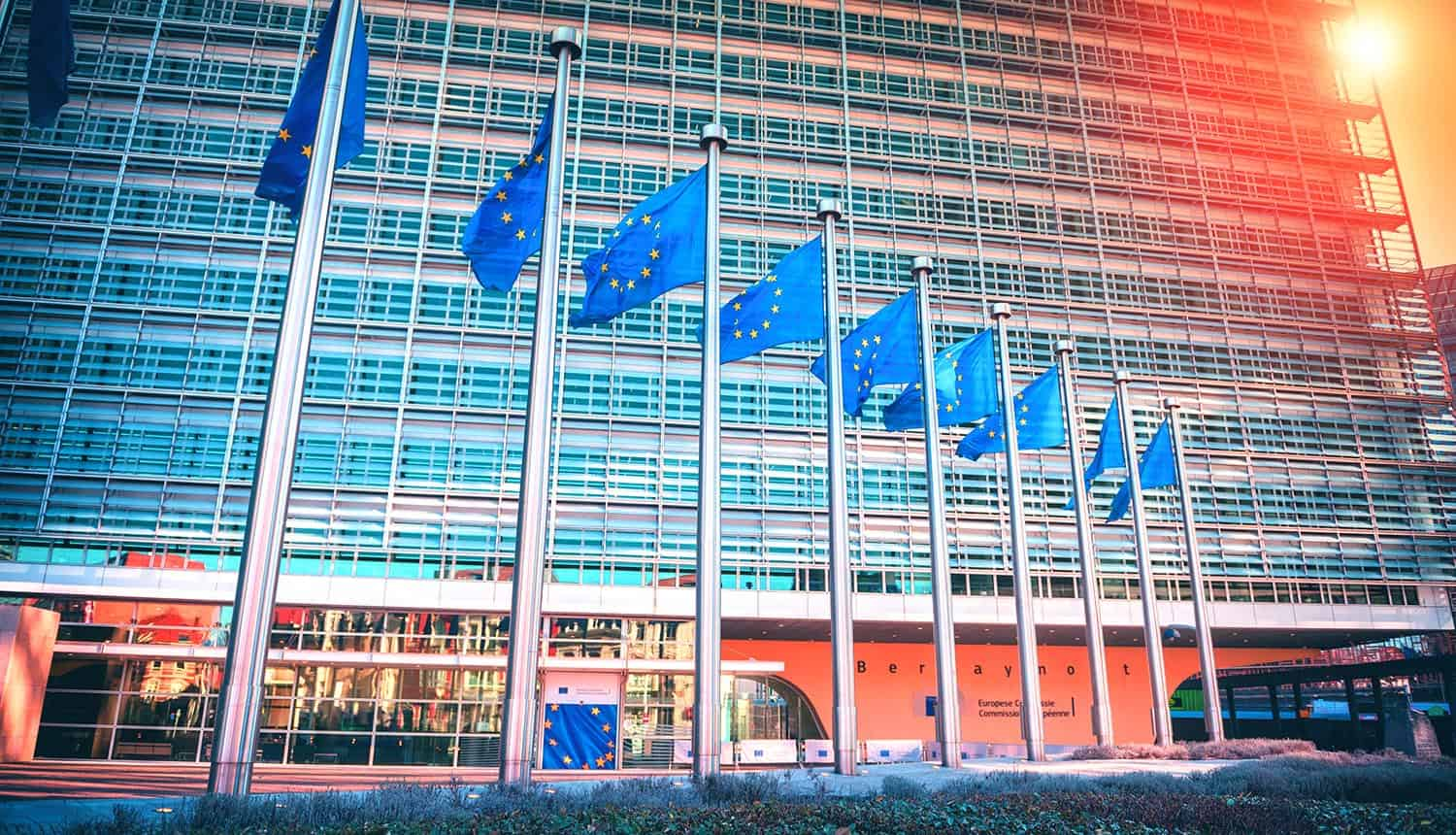 EU flags waving in front of European Parliament building showing leak of sensitive data
