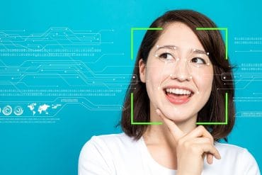 Facial recognition system capturing woman's face showing observations on Clearview AI facial recognition system