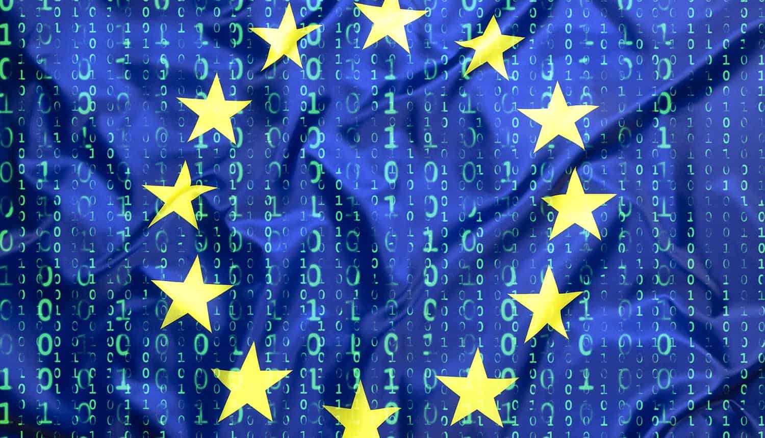 E.U. flag with binary code background showing the new European cloud that could provide services which comply with data protection laws