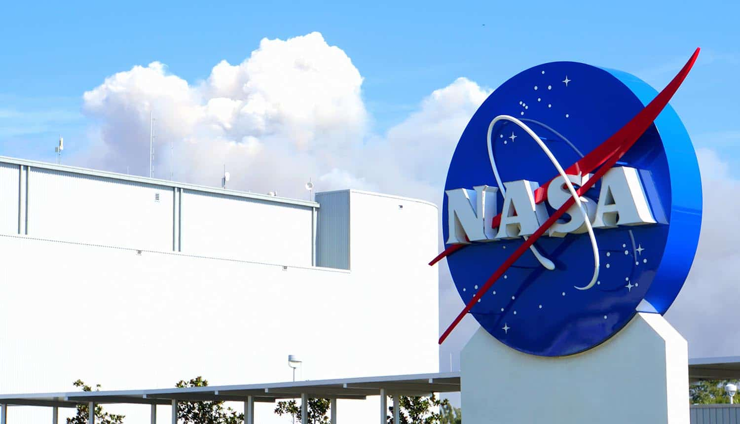 NASA logo at Kennedy Space Center showing Doppelpaymer ransomware breach of NASA contractor