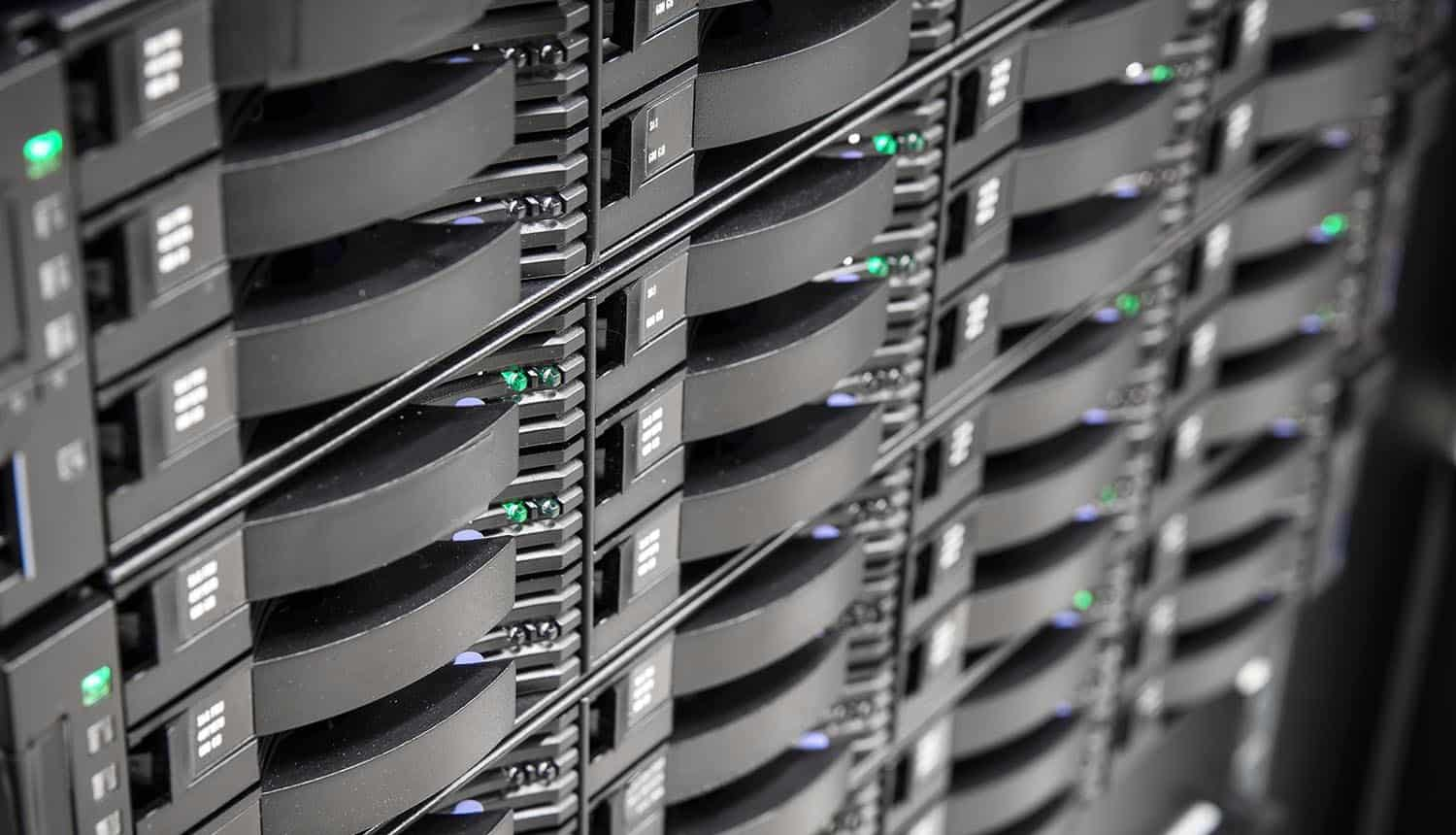 Hard disks in large storage system showing the myth of the enterprise data required to ensure a secured environment
