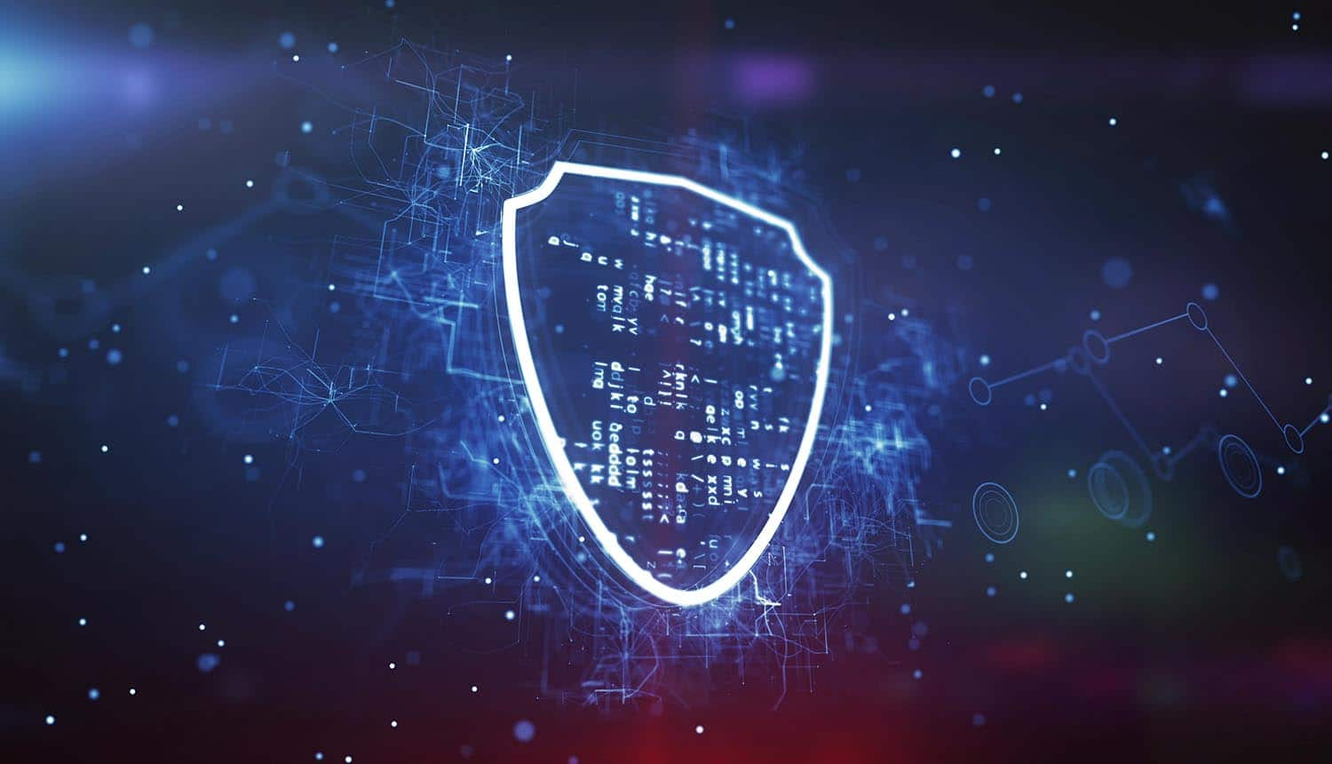 Shield against modern cyber background shows upcoming decision on Schrems II case to invalidate Privacy Shield
