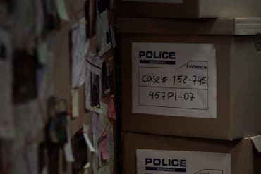 Police's evidence boxes showing the data dump of police files from hundreds of U.S. law enforcement agencies