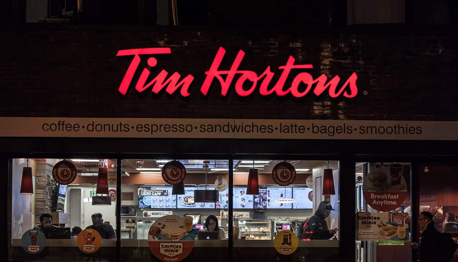 Shop front of Tim Hortons showing Tim Hortons being investigated for their data collection practices
