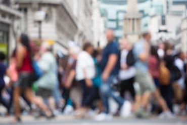 Blurred image of people walking on street showing how Europeans feels about data protection
