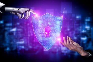 Robot hand and human hand touching data protection icon showing how AI could stop the largest potential cyber attack in history