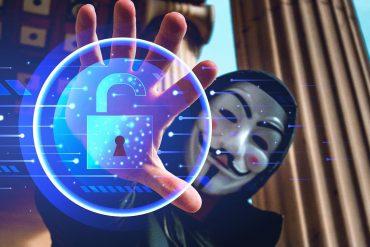 Hacker grabbing virtual lock showing dangers of fake VPNs