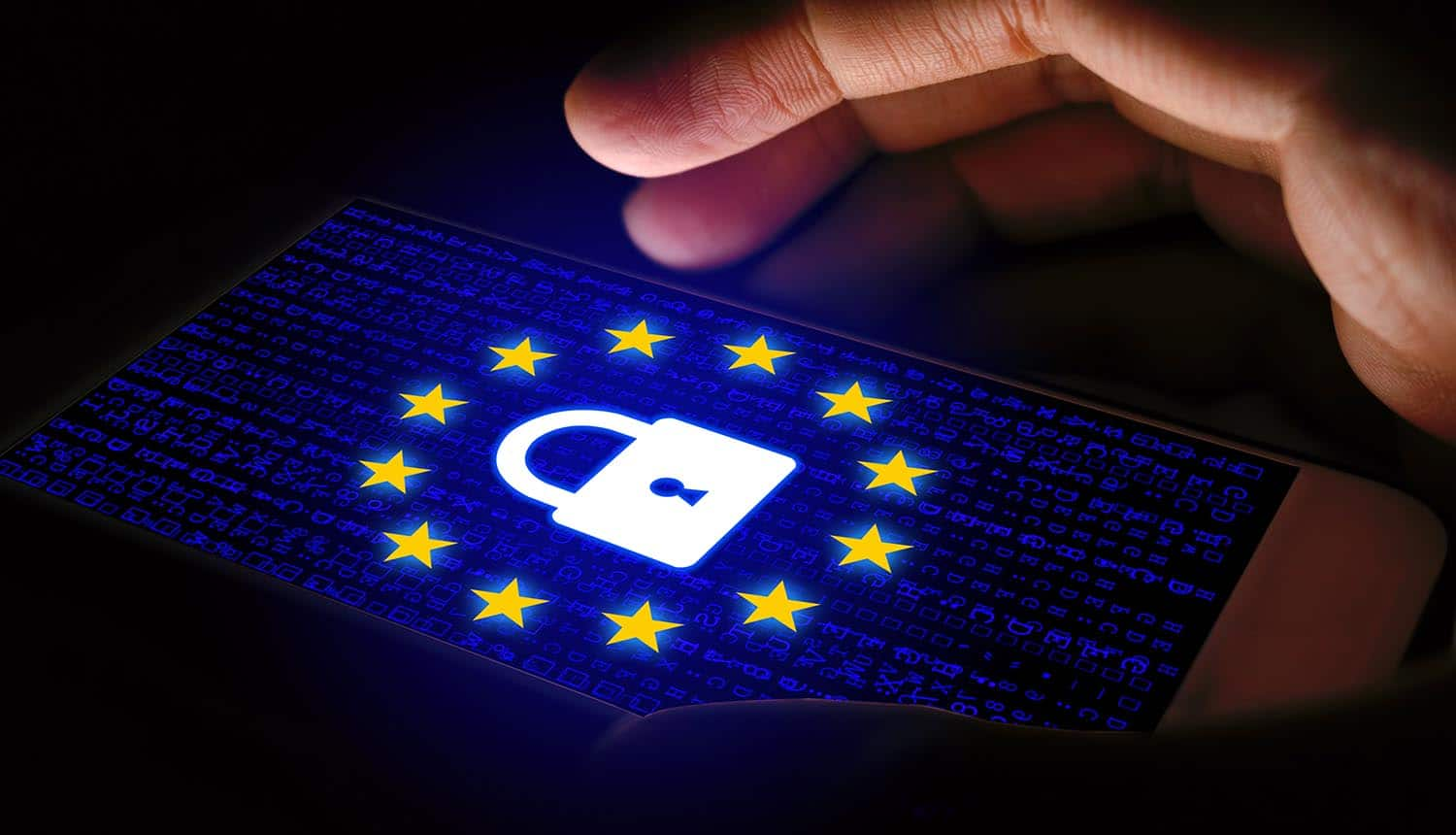 Hand protecting GDPR sign showing enhanced Privacy Shield framework