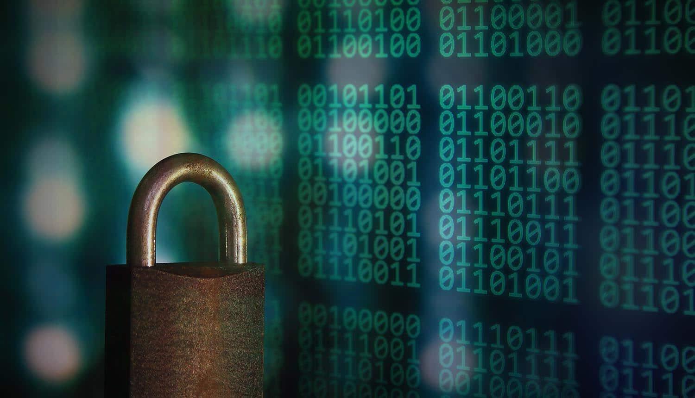 Metal padlock over digital matrix showing need for data governance over WFH