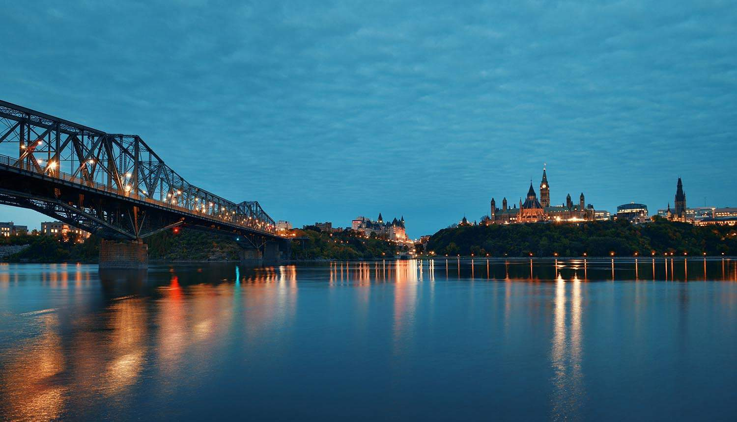 Parliament Hill at dusk over water in Ottawa, Canada showing credential stuffing attack