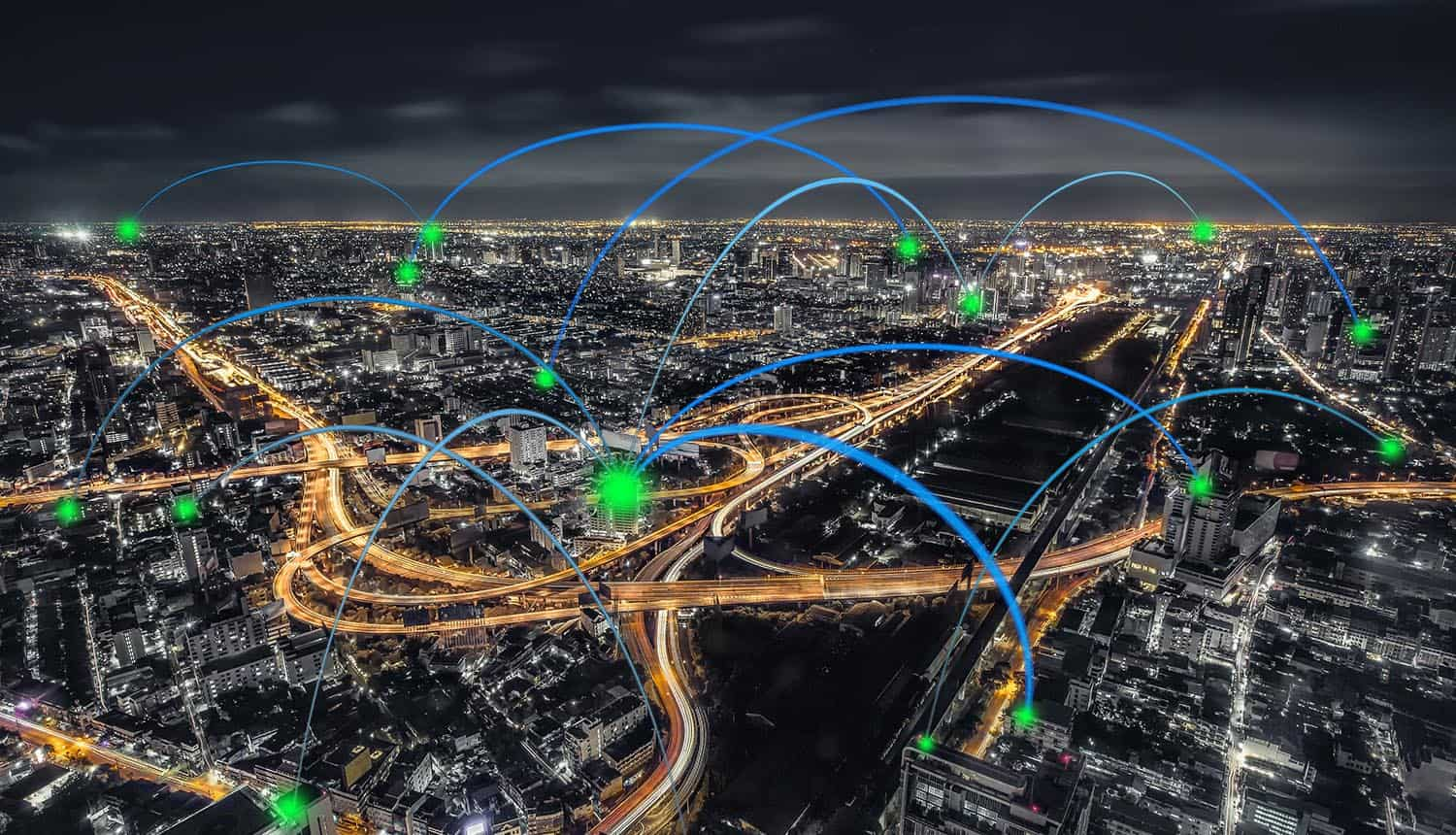 Downtown at night showing proxies and VPN connections from the top of skyscrapers