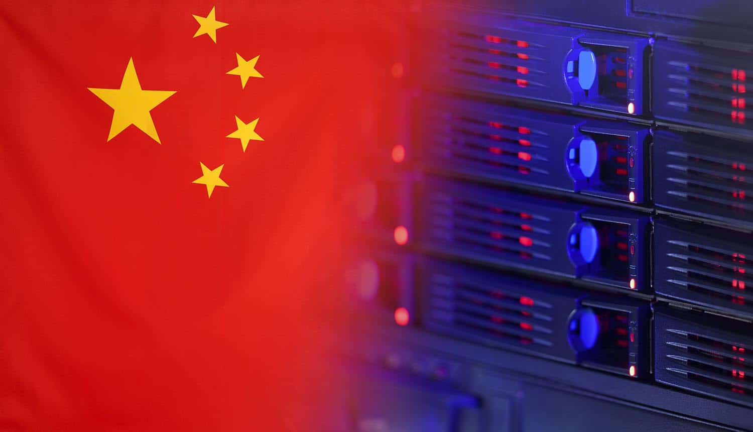 Server hardware merging with the Flag of China showing Zhenhua data leak of personal information
