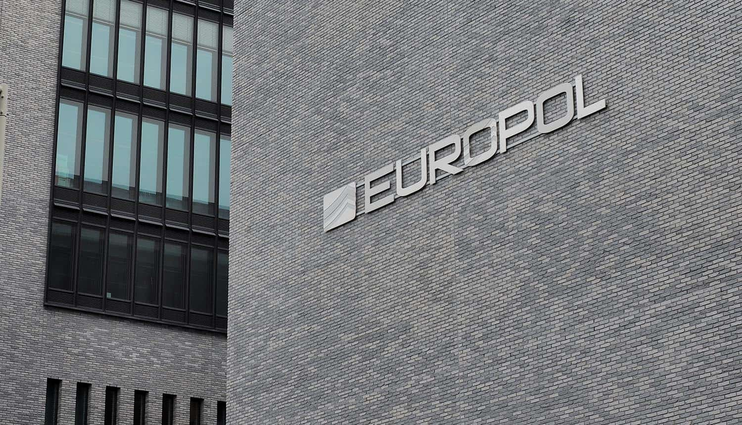 The Europol wording on the head office in the Hague showing cybercrime and privacy coins