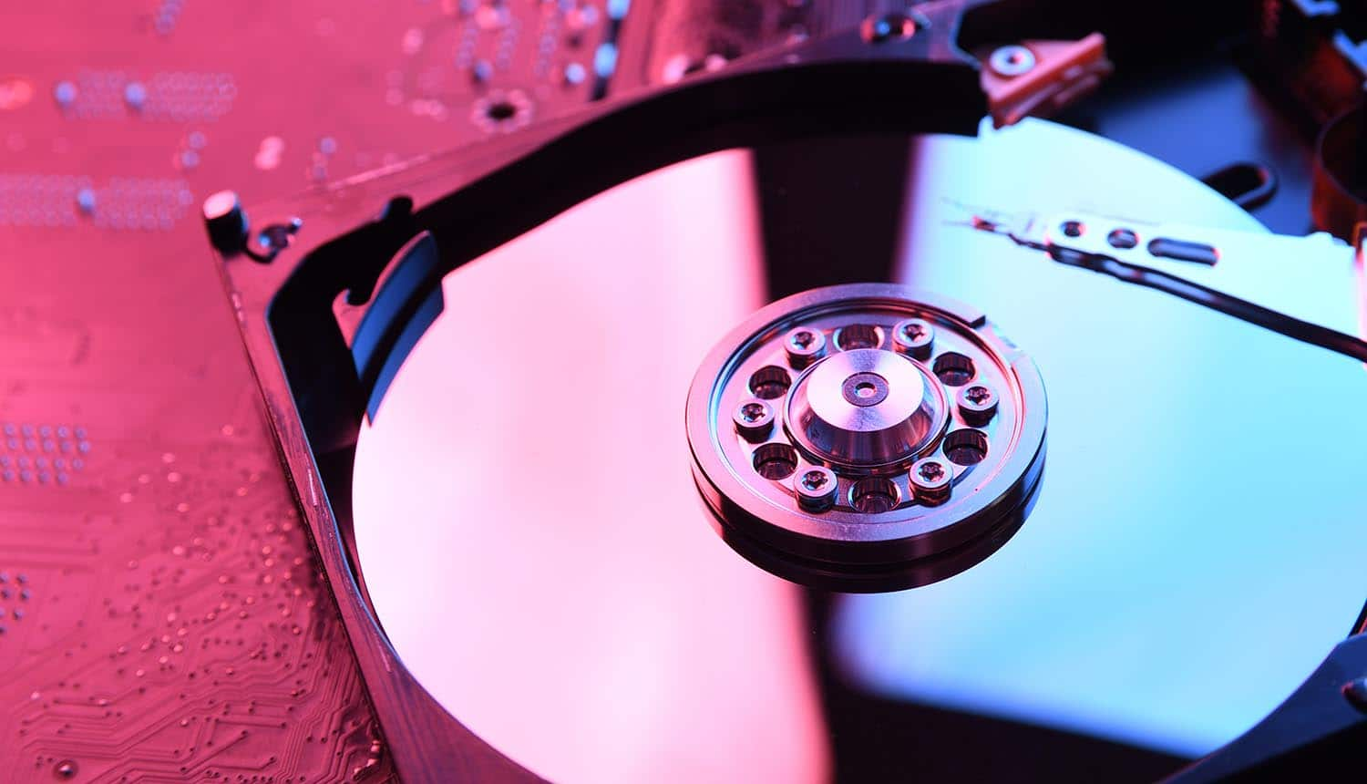 Computer hard disk drives showing data recovery for ransomware attack