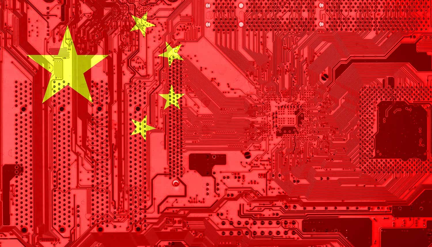 China flag on the circuit board showing TikTok ban is just one concern with Chinese IoT