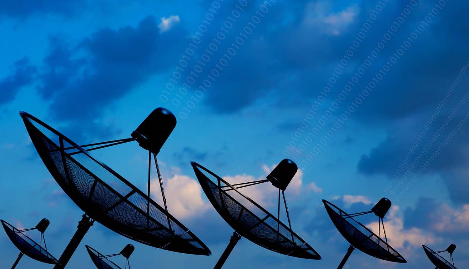 Satellite dish sending data showing cyber attacks for telecom industry