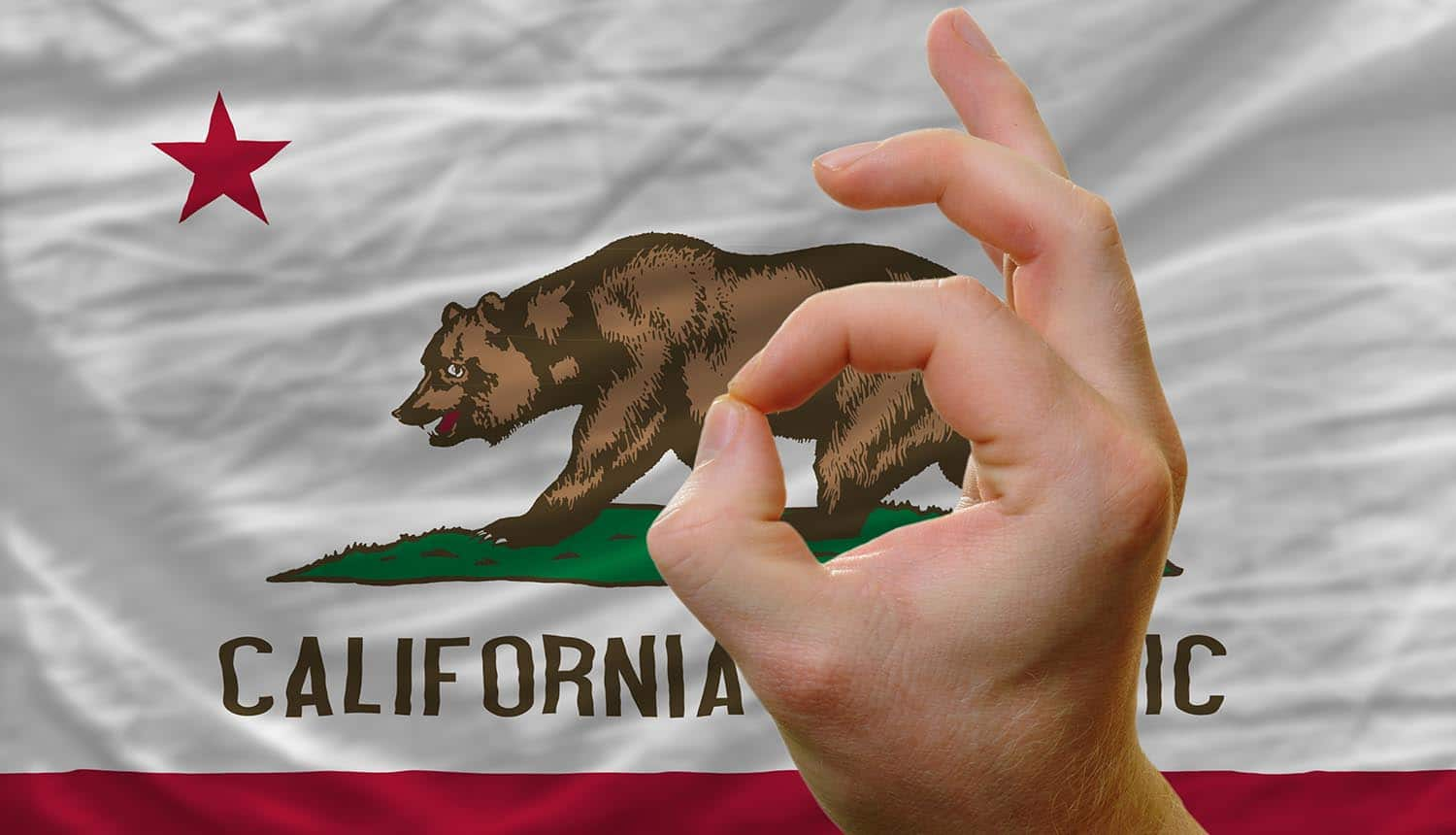 Man with ok gesture in front of flag of California showing approved CPRA changes to privacy rights