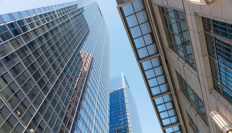 Financial district skyline