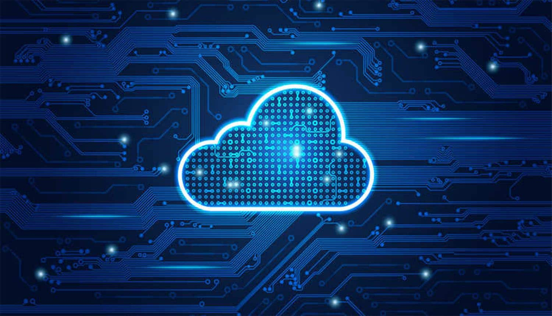 Digital cloud against circuit background