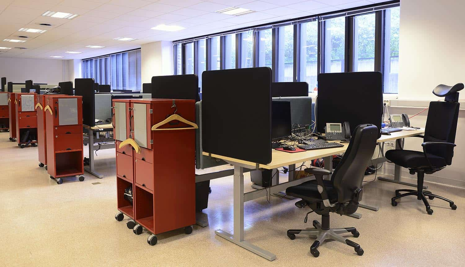 Empty office, chairs and tables in a row show gap in cybersecurity workforce