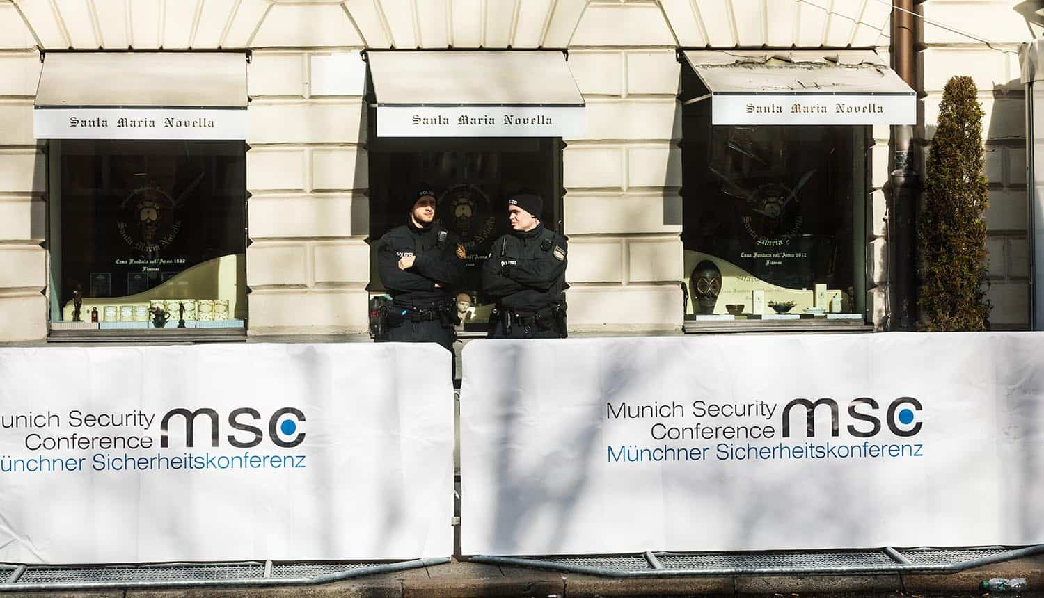 Police at Munich Security Conference showing Iranian hackers and intelligence collection