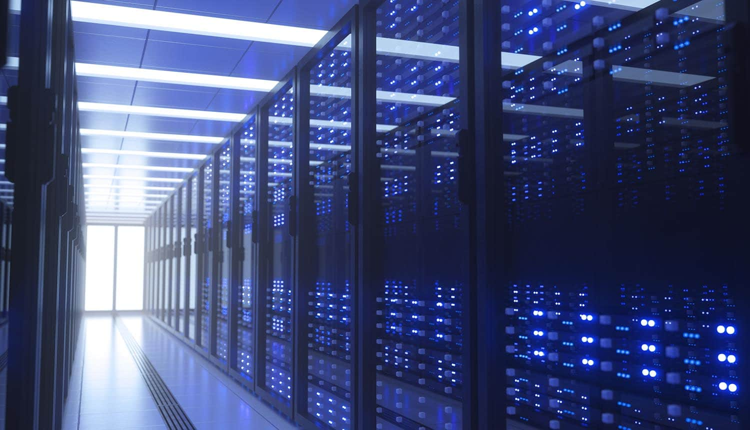 Server racks in data center showing vulnerabilities in virtual appliances