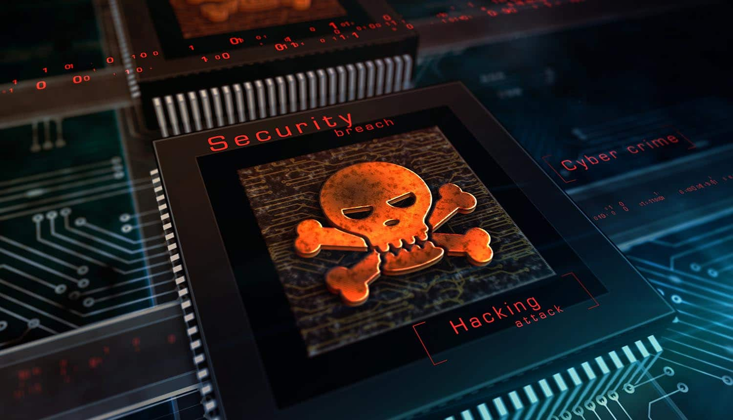 Skull symbol on computer chip showing SolarWinds backdoor planted by Russian hackers