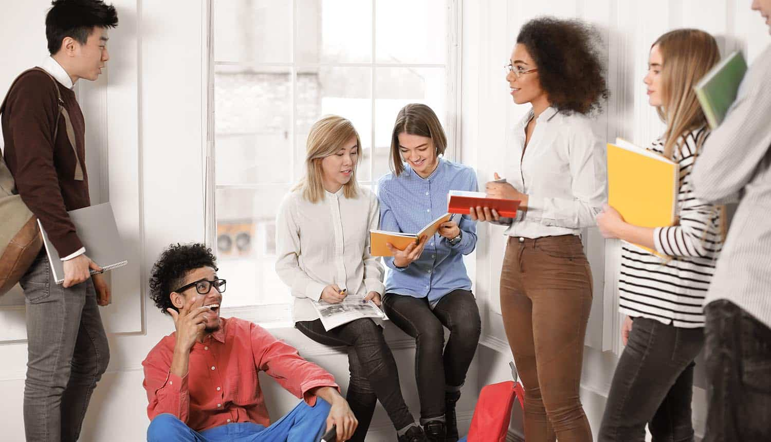 Group of employees discussing work