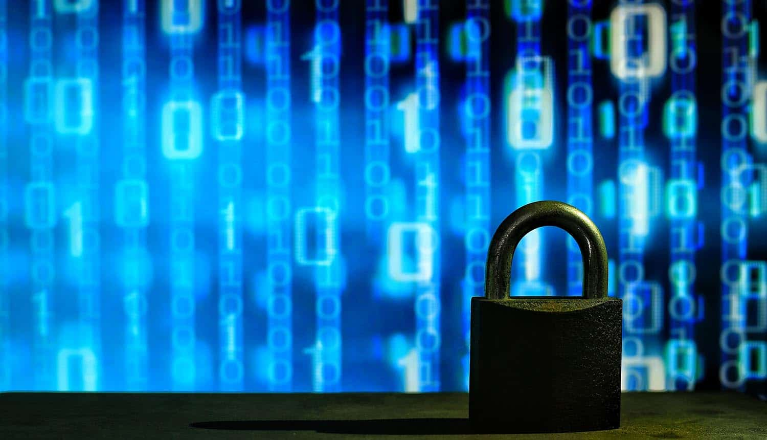 Closed padlock in front of blue floating binary code showing need for data security