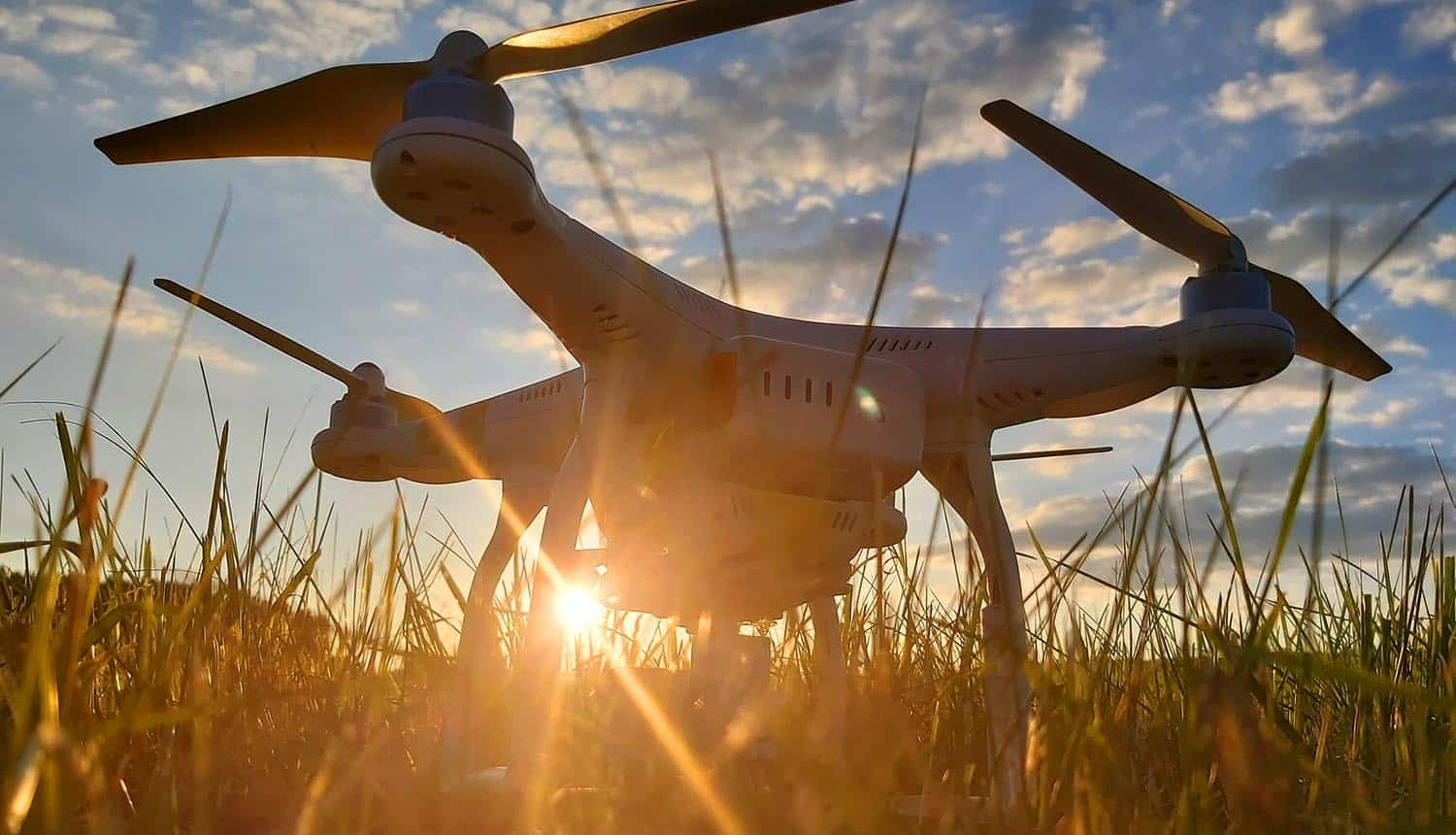 Drone preparing to take off showing remote ID requirements for drone tracking