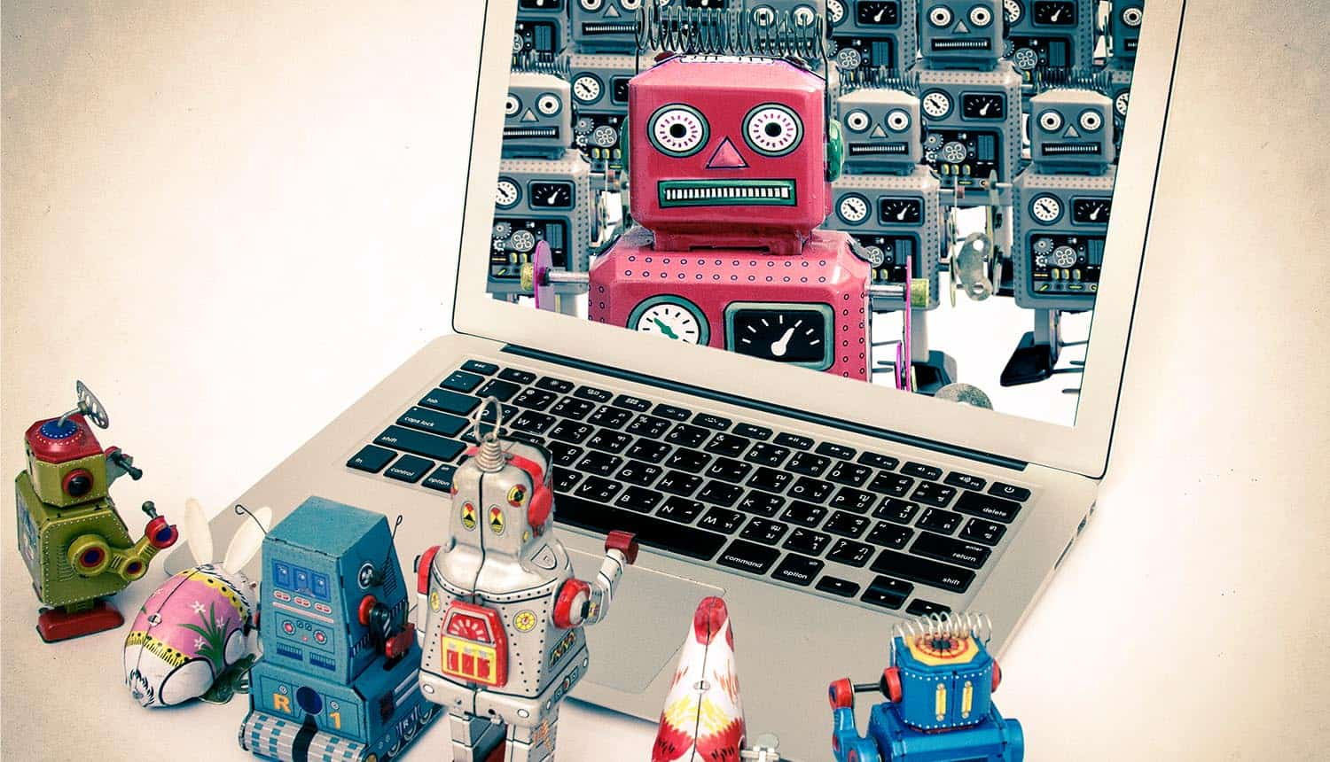 Robot toys getting instructions from boss robot showing the threat of IoT botnet and DDoS