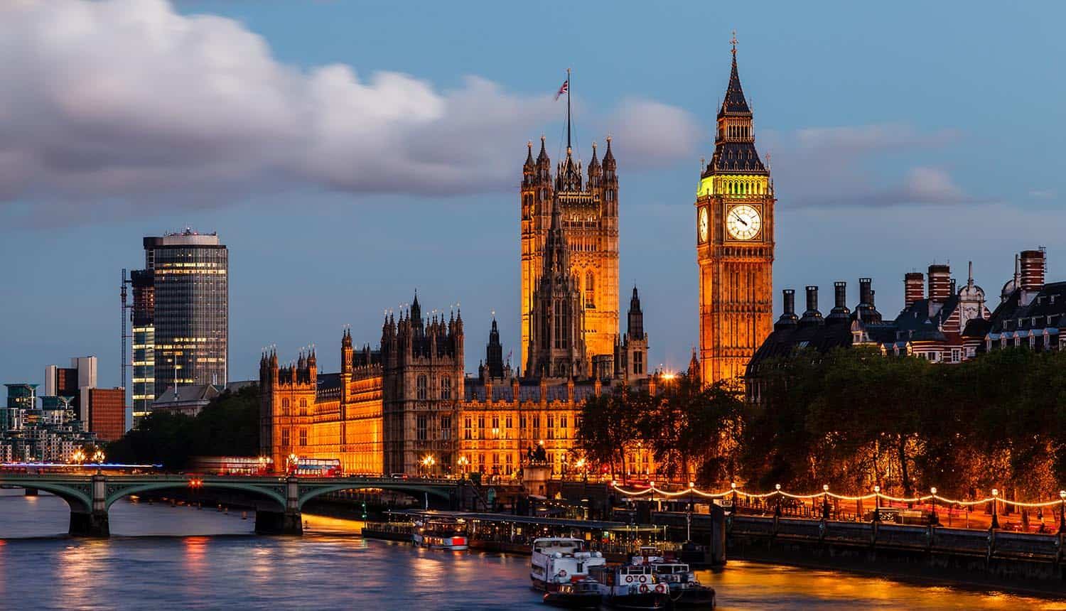 Big Ben and Westminster Bridge in the evening showing fraud considered national security threat in UK