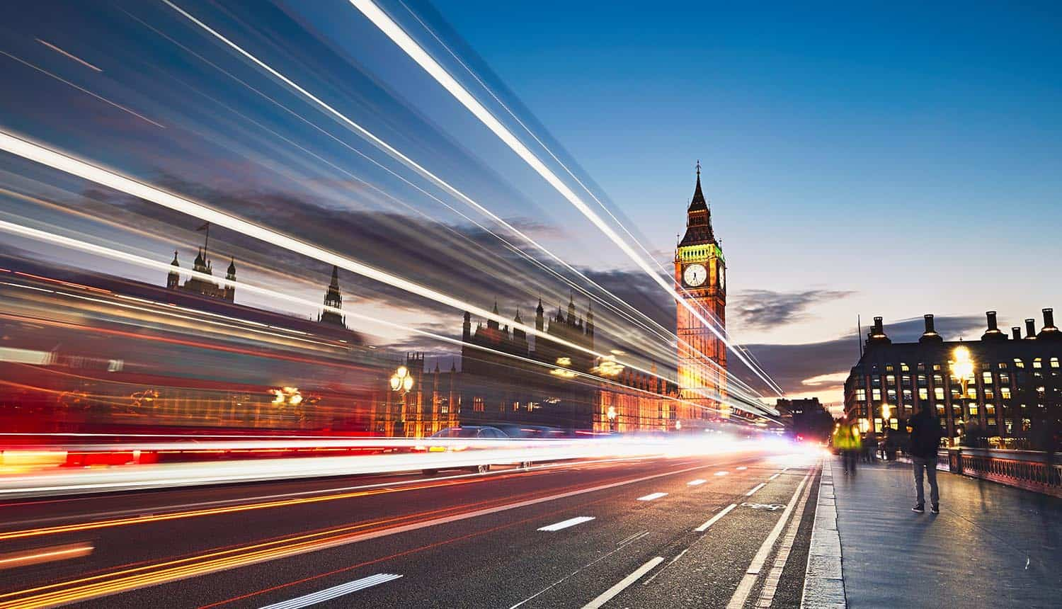 Light trails on the Westminster bridge after sunset showing Brexit impact on data transfers post Schrems II