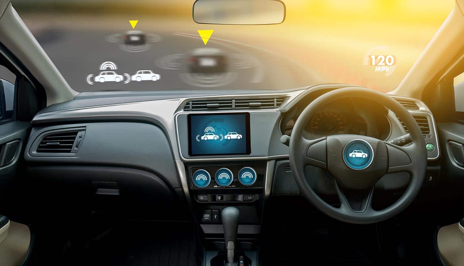Autonomous vehicles and digital speedometer showing cybersecurity challenges