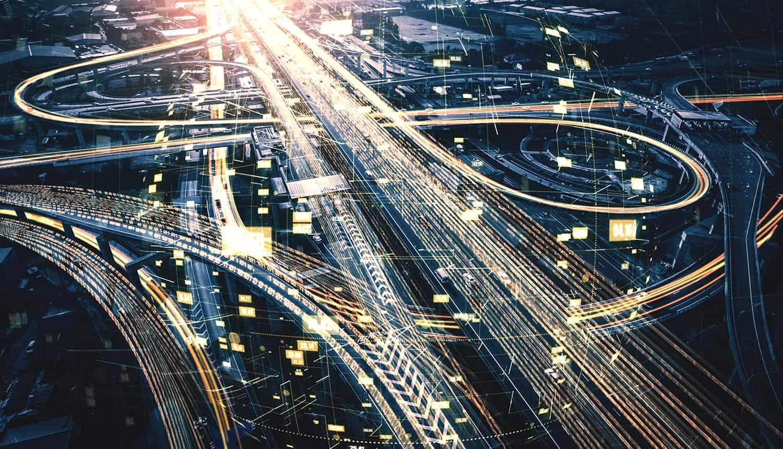 Futuristic road transportation technology showing AI-enabled surveillance cameras
