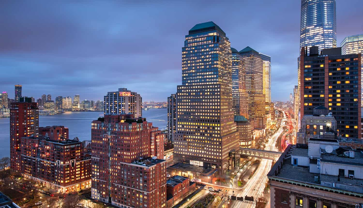 New York financial district cityscape showing new cyber defense report