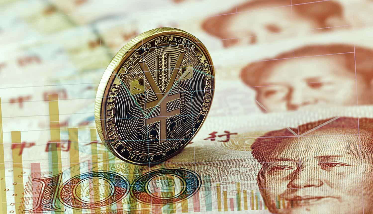 Digital currency coin on top of Chinese Yuan showing privacy protection for Digital Yuan