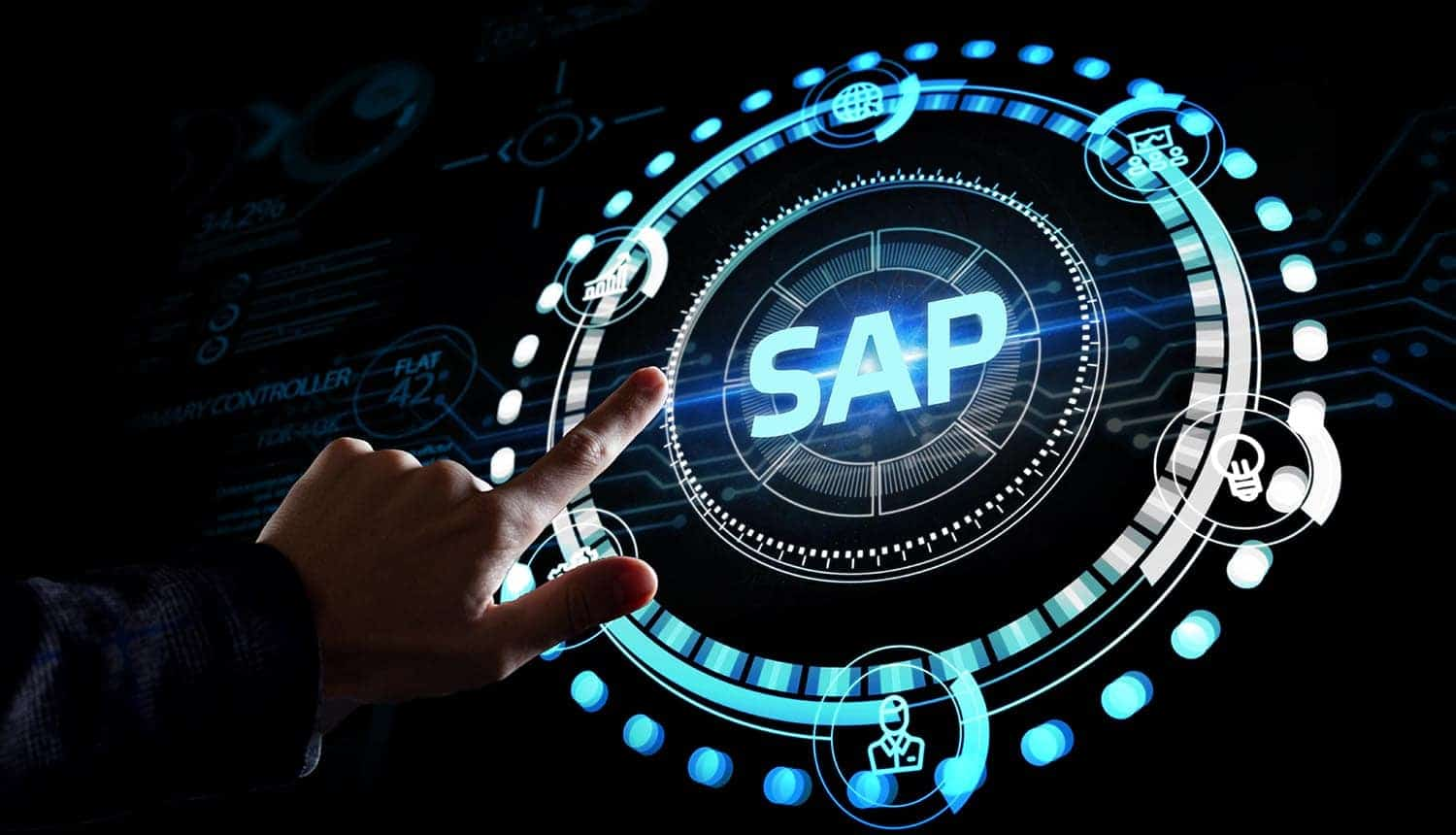 SAP system on virtual screen showing cyber attack on security vulnerabilities