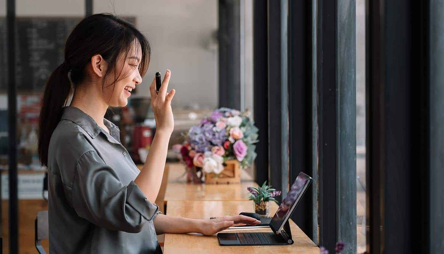 Woman using video call communication while remote working showing increase in data loss