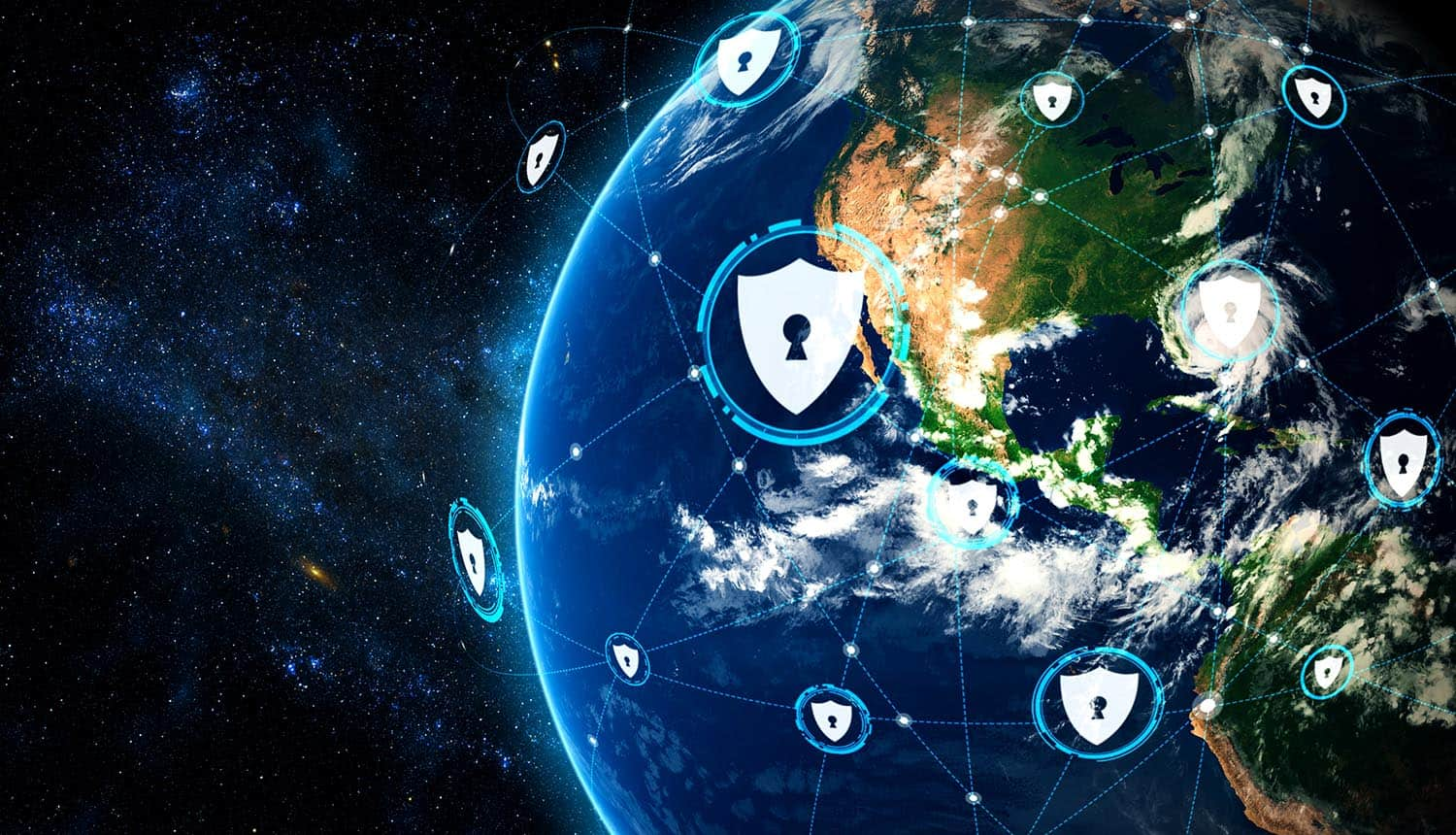 Digital shields around the globe showing cloud security