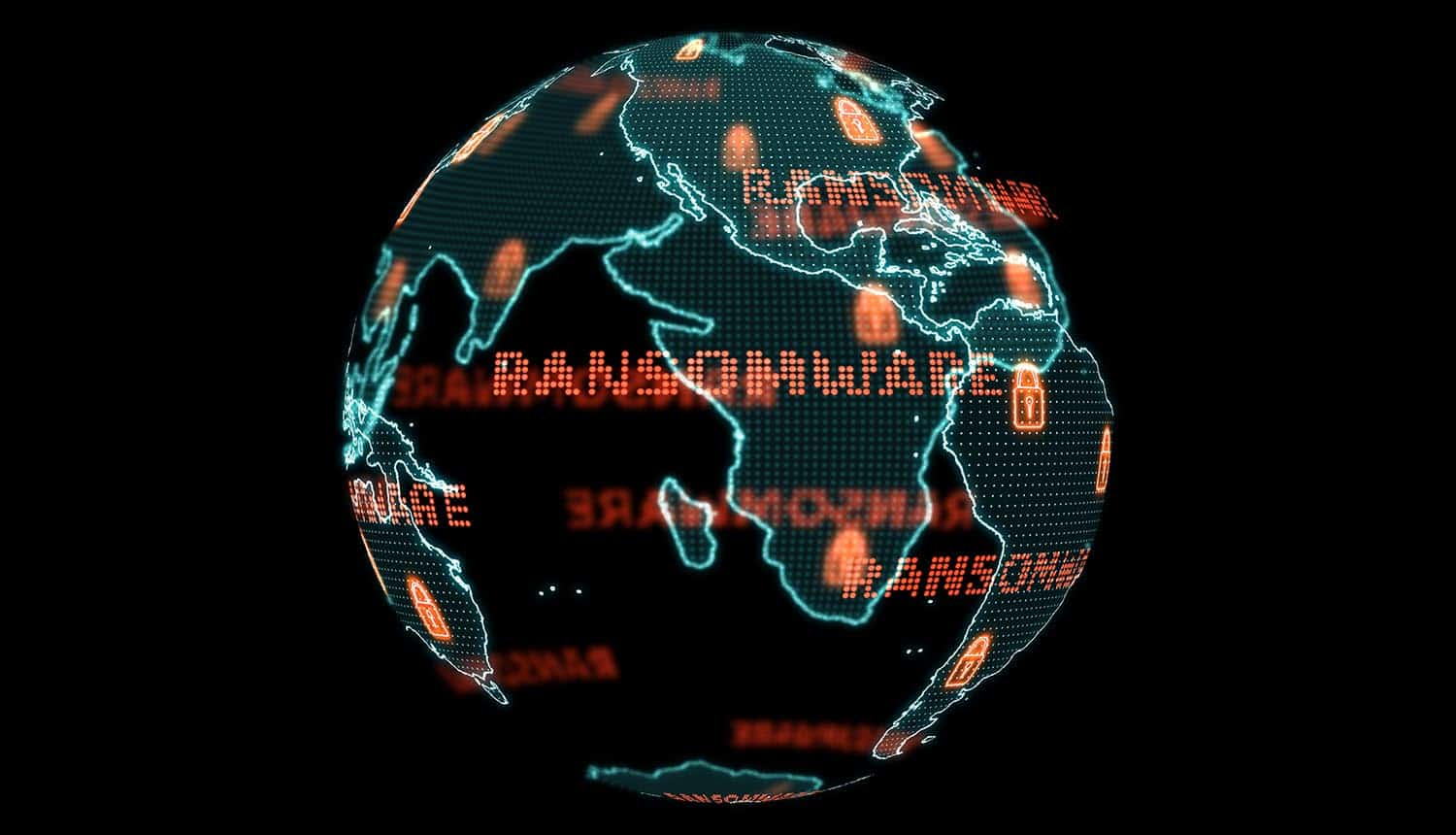 Digital global world map showing ransomware attack