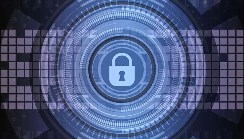 Cyber lock against background of digital landscape