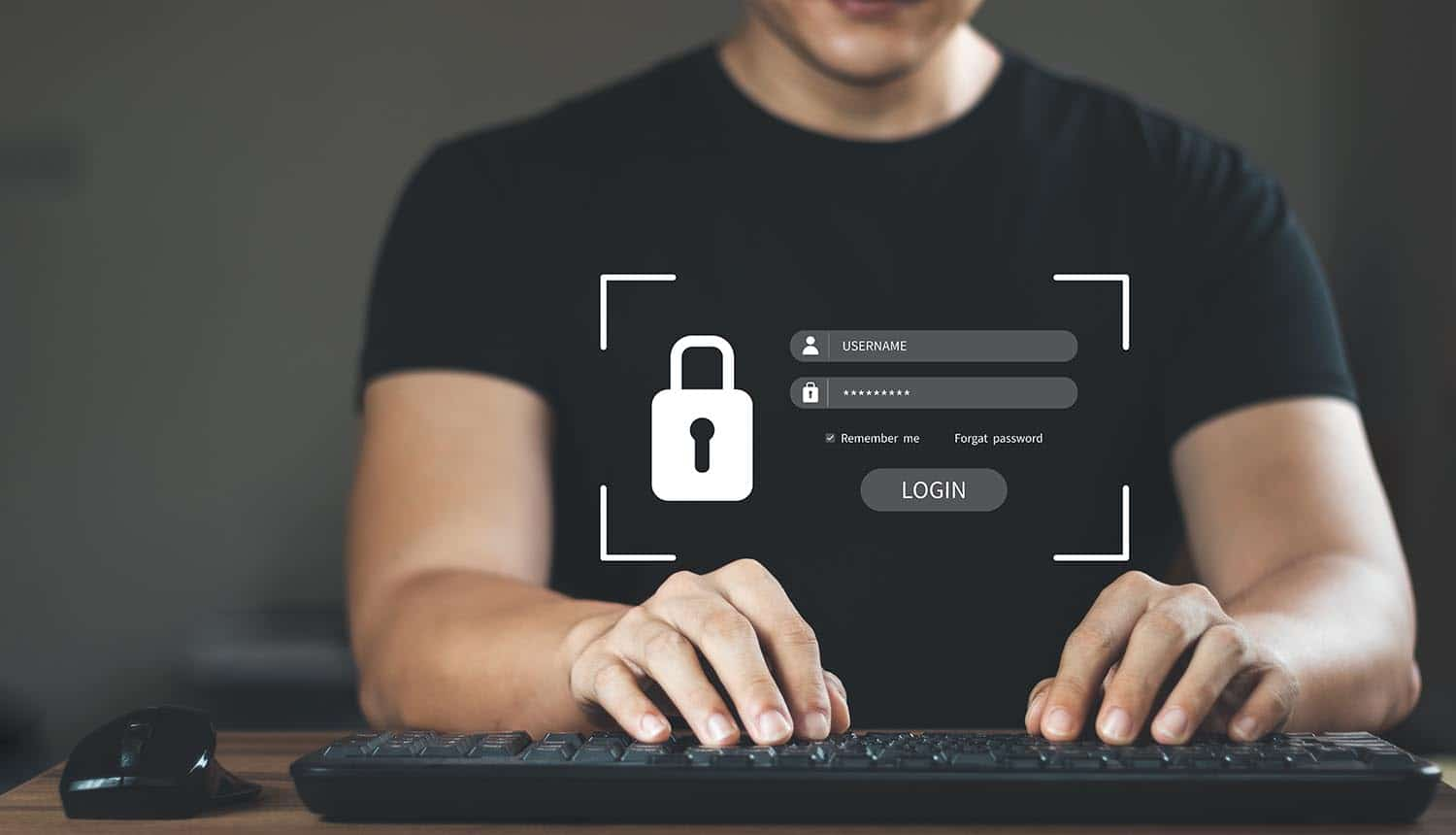 Man typing username and password on virtual screen showing third-party data breach