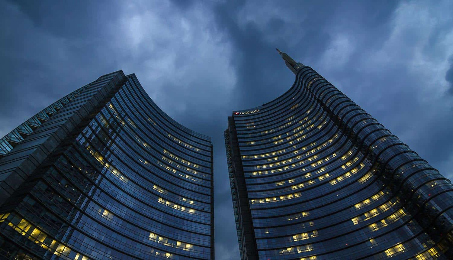 Modern building of Unicredit tower in new Porta Nuova business district showing Android malware and banking trojan