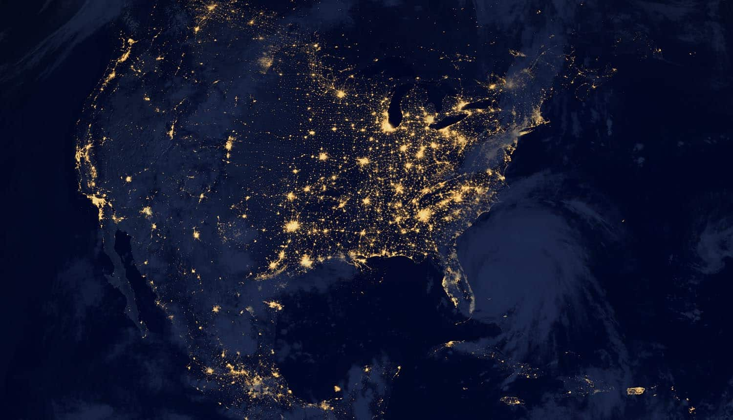 North America at night from space showing Big Tech push on state privacy laws