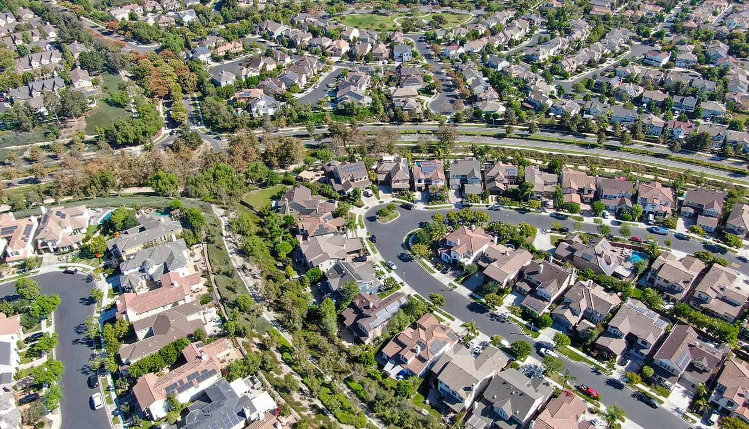 Aerial view of master-planned community and census-designated Ladera Ranch showing differential privacy on census data