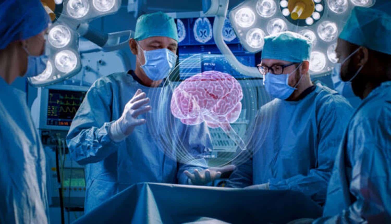 Doctors standing around virtual brain