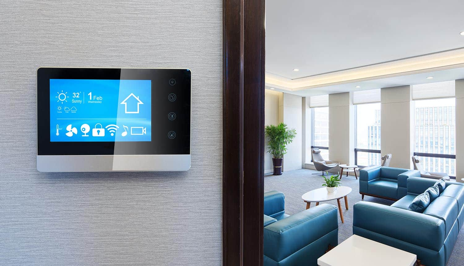 Screen with smart home apps on wall in modern living room showing critical vulnerabilities affecting IoT security