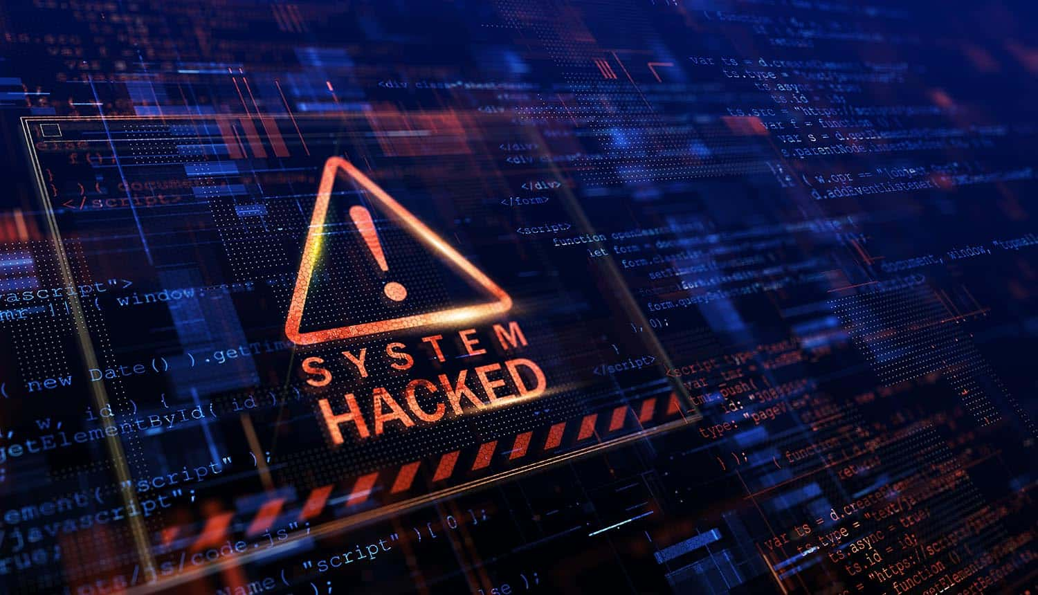 Warning of a system hacked showing ransomware recovery costs of ransomware attack
