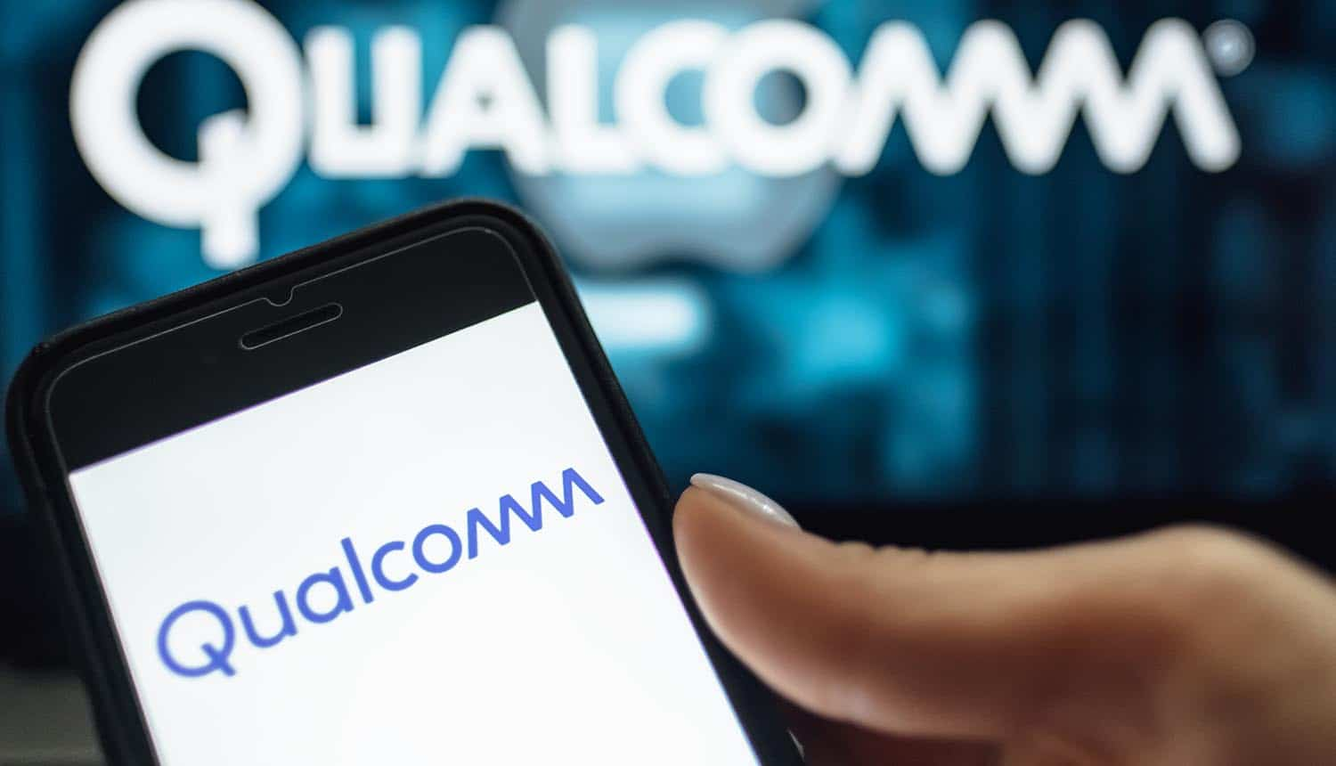 Screen shot of Qualcomm logo on the smarphone showing security vulnerability on Qualcomm chips affecting Android phones